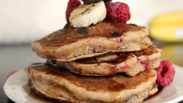 How To Make Banana, Chocolate And Raspberry Pancakes- Healthy