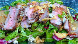 Steak and Arugula Salad with Walnuts and Roasted Pears