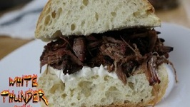 Smoked Chuck Roast- Pulled Beef Sandwich With A Smokey Vidalia Jalapeno Mayonaise