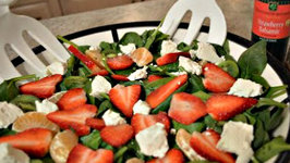 How to Make Kiwi, Strawberry and Spinach Salad with Chevre and Strawberry Lime Balsamic Vinaigrette