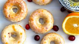 Breakfast Recipe Baked Cranberry and Orange Sour Cream Cake Doughnut