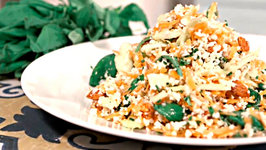 Tasty Raw Cauliflower Couscous Salad with Green Veg