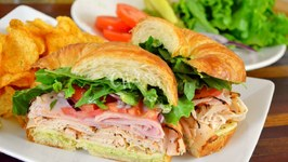 Blackened Turkey, Black Forest Ham And Pepper Jack Cheese Croissant Sandwich / Back to School Recipes