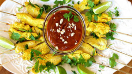 Appetizer - Curried Chicken Satay with Peanut Sauce