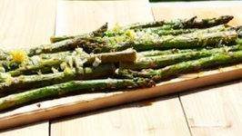 Cedar Plank Lemon Zested Asparagus