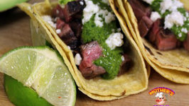 Grilled Flank Steak Tacos with a Cilantro Chimichurri Sauce