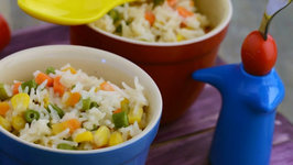 Vegetable Rice with Cheese Sauce