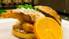 Shock Top Beer Battered Fish And Crab Sandwich