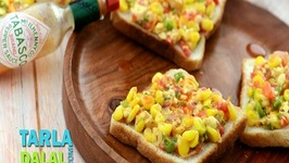 Grilled Corn Toast by Tarla Dalal