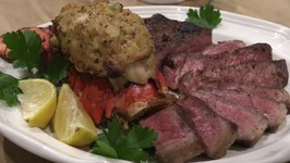 Grilled Porterhouse Steak and Stuffed Lobster Tail - Lobel's Surf and Turf
