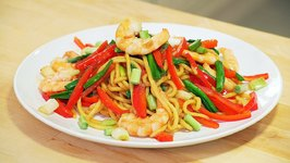 Chinese Stir Fry Shrimp Lo Mein Noodles Recipe