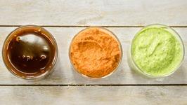 3 Chutneys Recipe / Meethi Chutney Allam / Ginger Red Pachadi / Curry Leaf Cashew Green Chutney