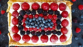 Dessert Recipe: Red, White and Blueberry Almond Tart by Everyday Gourmet