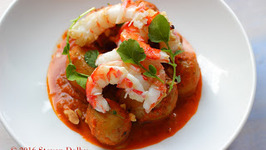 Royal Red Shrimp and Potatoes with Red Pepper Mint Sauce