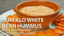 Buffalo White Bean Hummus With Baked Sweet Potato Chips