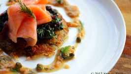Smoked Salmon on Potato Rösti with Swiss Chard and Horseradish-Caper Cream Sauce