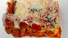 Grilling Lasagna in a Cedar Plank Tray