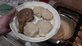 Pork Chops with Biscuits and Gravy