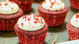 Red Velvet Cupcakes with Frosting in Cooker - Pillowy Soft and Moist - Eggless Baking Without Oven