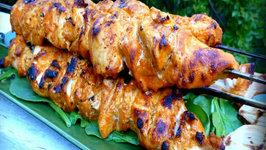 Yogurt Marinated Grilled Chicken Breast Kabobs