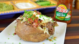 Crock Pot Recipe Shredded Beef & Cheese Baked Potato feat. Pace Salsa & Walmart