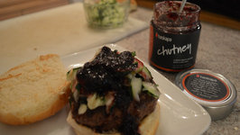 How to Grill Black Sheep Cheese Stuffed Hamburgers with Haskapa Chutney