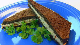 Betty's Russian Cheese Spread on Pumpernickel Bread