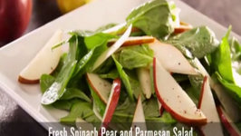 Spinach Pear and Parmesan Salad