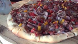 Grill Dome Kamado  Blueberry BBQ Brisket Pizza