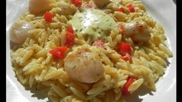 Pan Seared Sea Scallops with Garlic Aioli Orzo