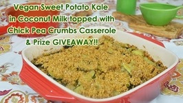 Thanksgiving Vegan Casserole: Sweet Potato Kale in Coconut Milk with Chick Pea Crumbs