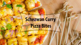 Schezwan Pizza Bites - Mini Pizza Recipe in Tawa - Eggless Baking Without Oven