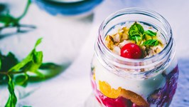 Daliya Parfaits With Peach and Cherry - Delicious Recipe
