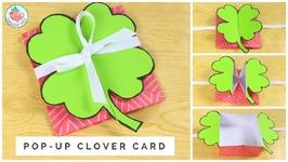 St. Patricks Day Crafts - Clover Shamrock Pop-Up Card - How To Make A Pop-Up Card Tutorial