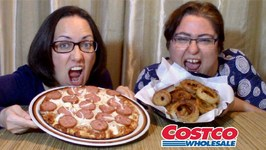 Costco Pizza And Crispy Onion Rings -Gay Family Mukbang - Eating Show