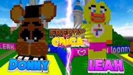 Minecraft FNAF CHALLENGE - FREDDY HOUSE V'S CHICA HOUSE - Donny V's Leah!!