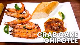 Crab Cake Chipotle With Caribbean BBQ Garlic Shrimp