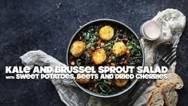 Kale And Brussel Sprout Salad With Beets And Fried Goat Cheese