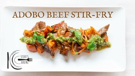Adobo Beef Stir-Fry With Honey Smoked Sweet Potatoes And Chimichurri