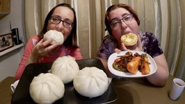 Chinese Steamed Buns, Egg Tarts And Ponytail Kimchi / Gay Family Mukbang - Eating Show
