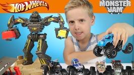 Hot Wheels Cars - Monster Jam Monster Trucks Maximum Destruction Race Playset Toys Review