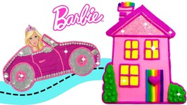 Play Doh Sparkle Barbie Disney Princess Doll House Barbie Car Learn Colors Play Doh Making Kids