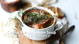 Classic French Onion Soup With Crostini and Gruyere Cheese
