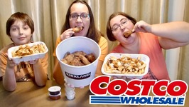 Costco Fried Chicken Wings Bucket And Poutine - Gay Family Mukbang - Eating Show