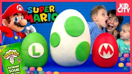 Super Mario Play-Doh Surprise Eggs Fun Toys With Warheads Sour Candy Game