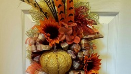 FALL SWAG WREATH USING WIRE HANGER  DIY DOLLAR TREE CRAFTS  AUTUMN HARVEST