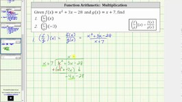Function Arithmetic Quotient - (fg)(x) and (fg)(-3) - Long Division