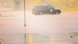 Cars Backed Up in Laredo Due to Flooding