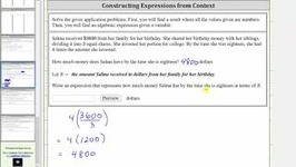 Application - Evaluate A Numerical Expression And Find A Variable Expression (a/b)x