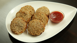 Veg Gold Coin Recipe - Chinese Veg Starter - Sesame Gold Coin - Tiffin Box Recipe - Ruchi
